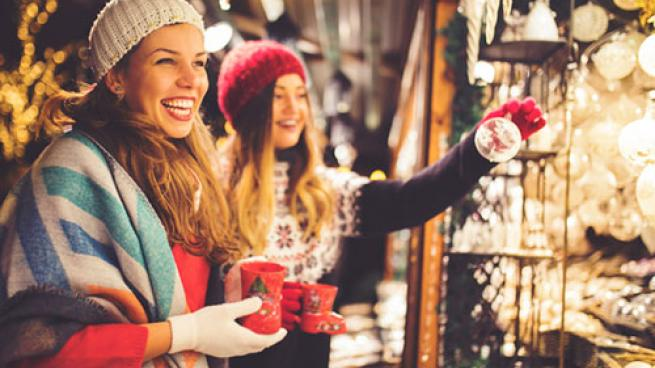 young girls christmas shopping