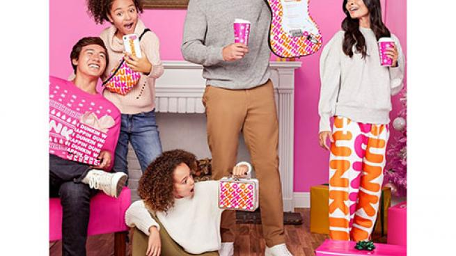 People wearing Dunkin' products