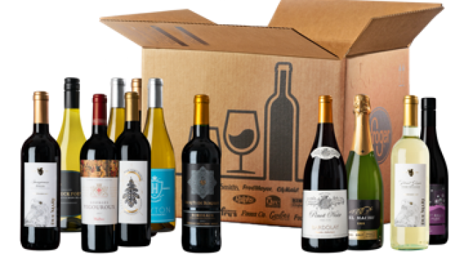 Box of wine bottles