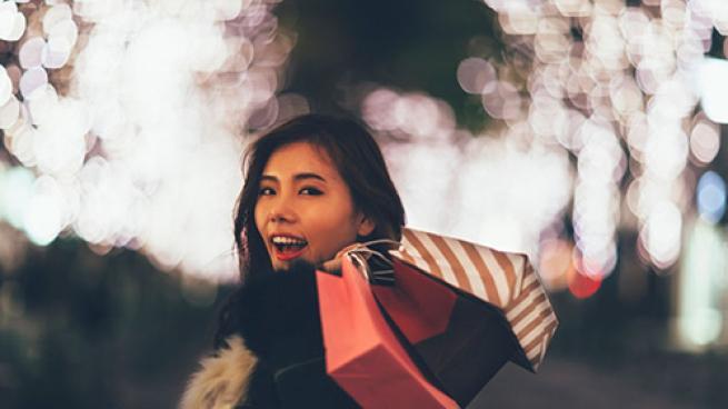 female holiday shopper