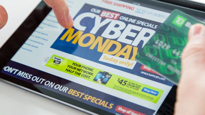 Cyber Monday tablet screen