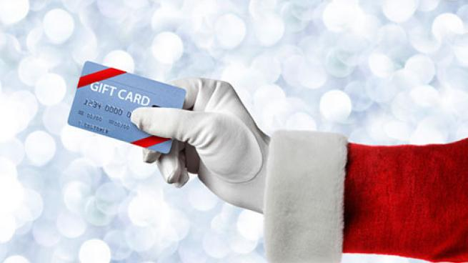 gift card in Santa's hand