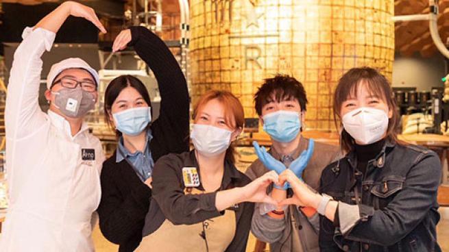 group of Starbucks employees
