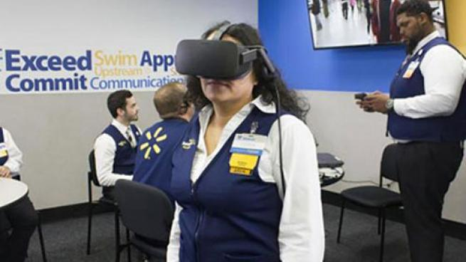 Walmart employee training with virtual reality headset