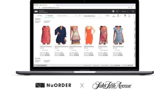 Saks NuOrder merchandising screen