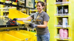 amazon employee in fulfillment center