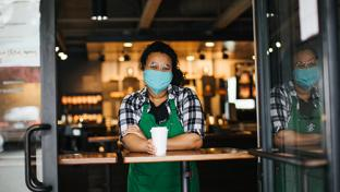 Starbucks employee with mask