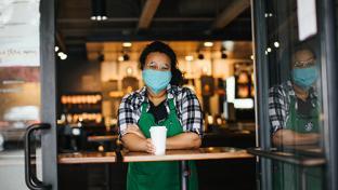 Starbucks employee with mask