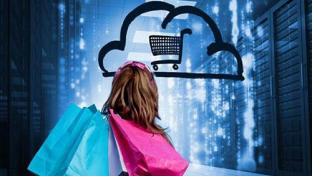 shopper looking at cloud shopping cart logo