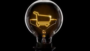 shopping cart inside a lightbulb