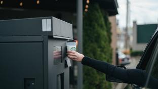 Starbucks reusable cup kiosk