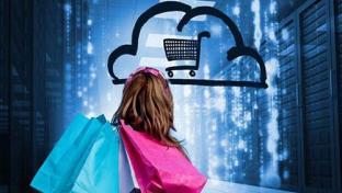 shopper looking at cloud shopping cart logo