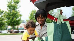 mother and child shopping